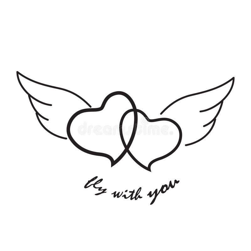Twee vliegende eenvoudige harten vector illustratie