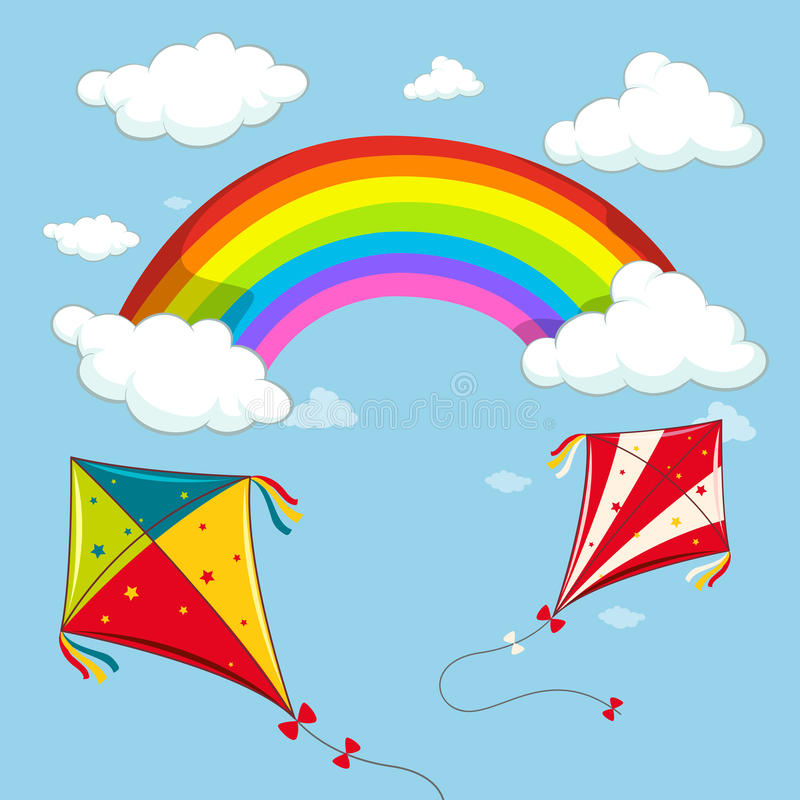 Twee vliegers in de blauwe hemel stock illustratie