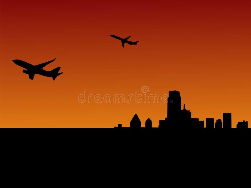 Twee vliegtuigen die Dallas verlaten royalty-vrije illustratie
