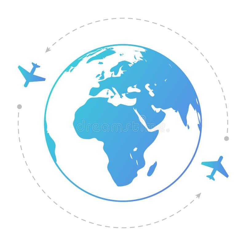 Twee vliegtuigen rond de bol De illustratie van de contour royalty-vrije illustratie