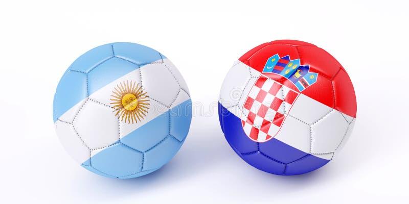 Twee voetbalballen in vlaggenkleuren vector illustratie