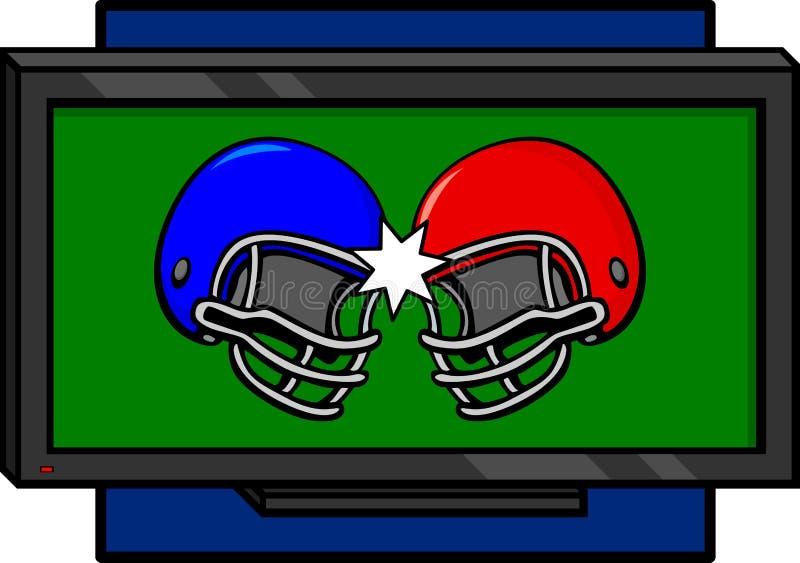 Twee voetbalhelmen die in een televisie in botsing komen stock illustratie