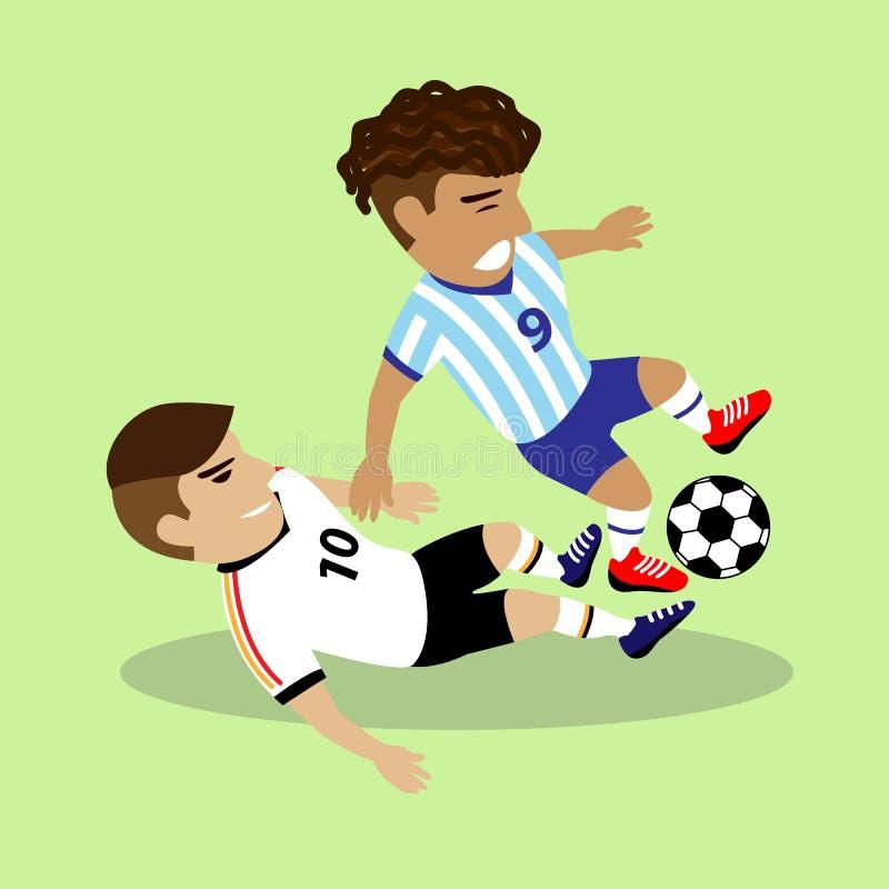 Twee voetballers die voor een bal vechten royalty-vrije illustratie
