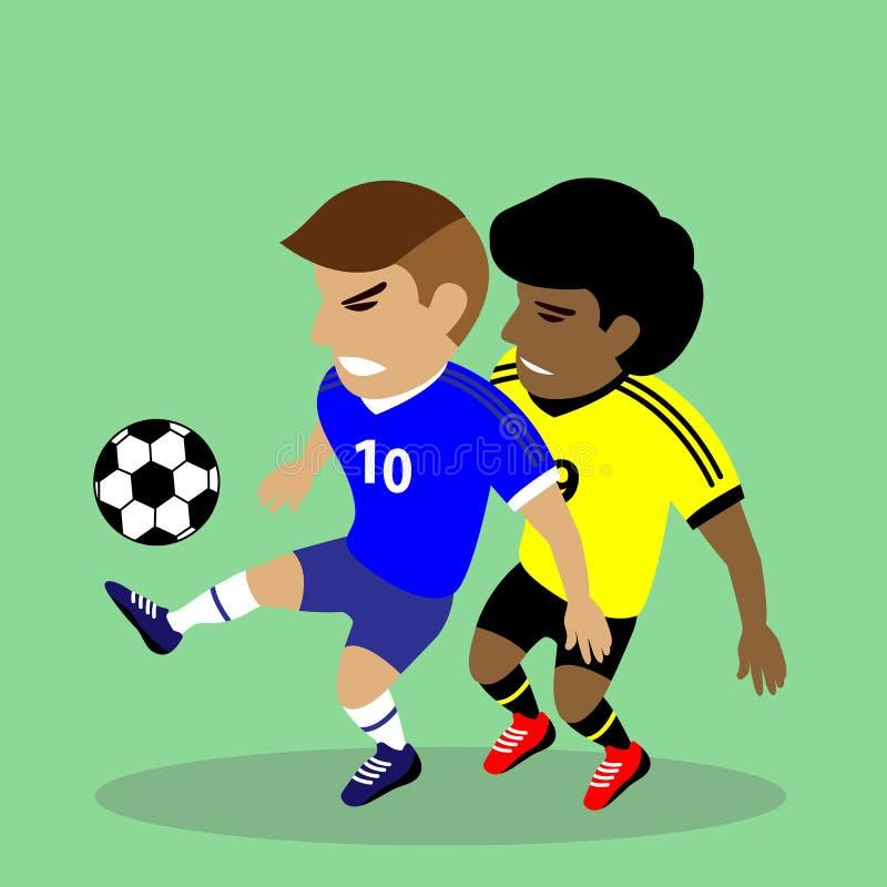 Twee voetballers die voor een bal vechten stock illustratie