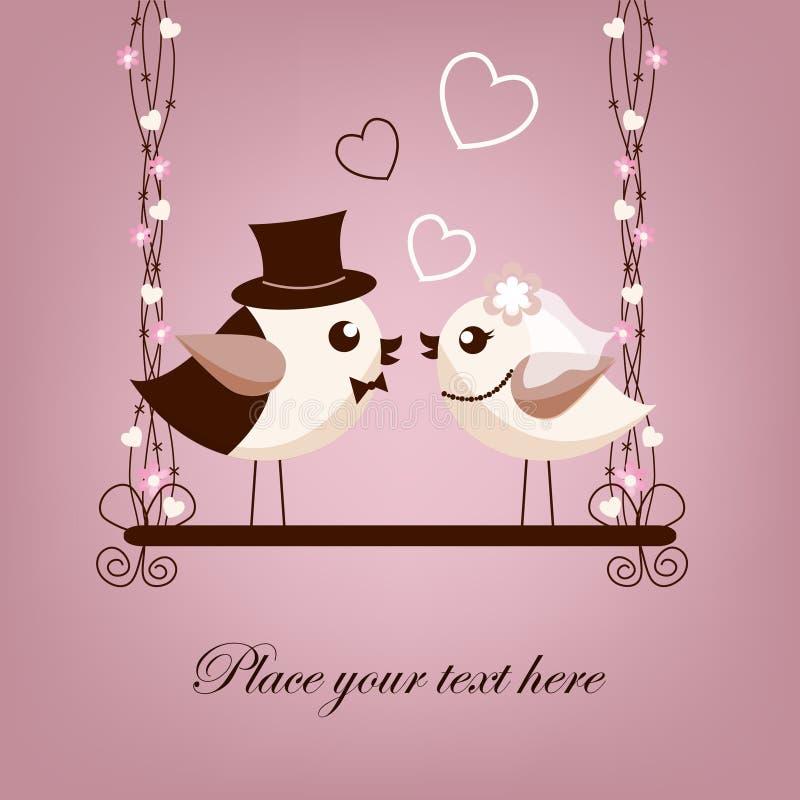 Twee vogels, bruid en bruidegom royalty-vrije illustratie