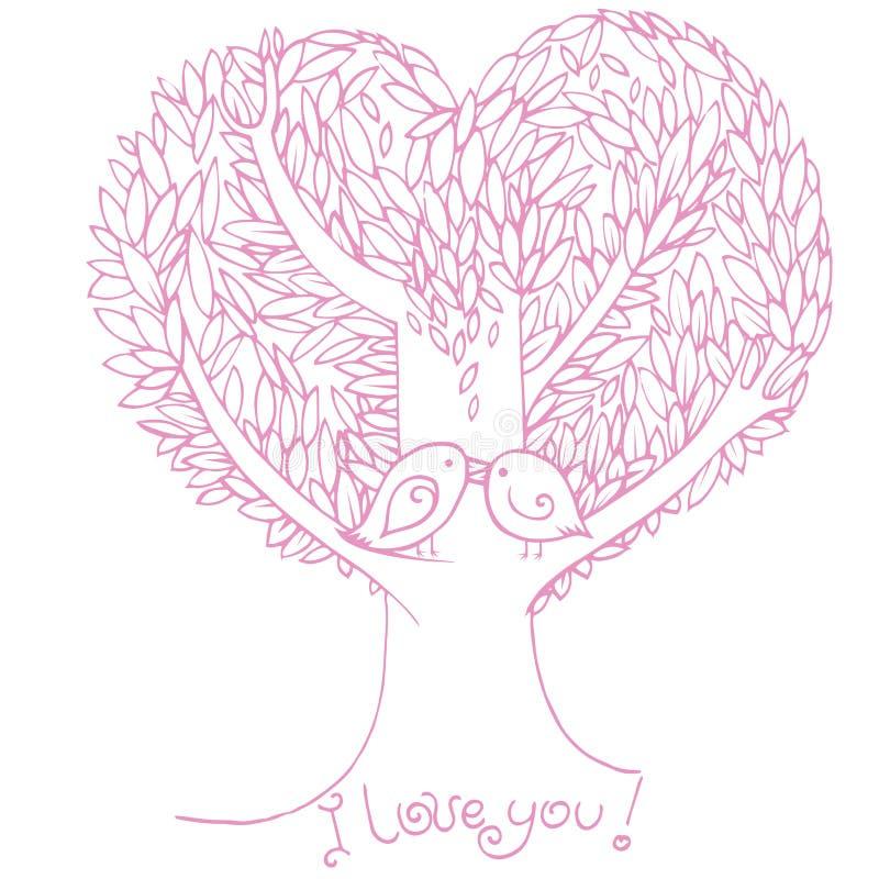Twee vogels in liefde vector illustratie