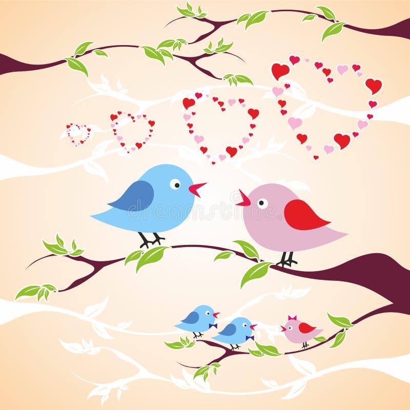 Twee vogels in liefde op de tak stock fotografie