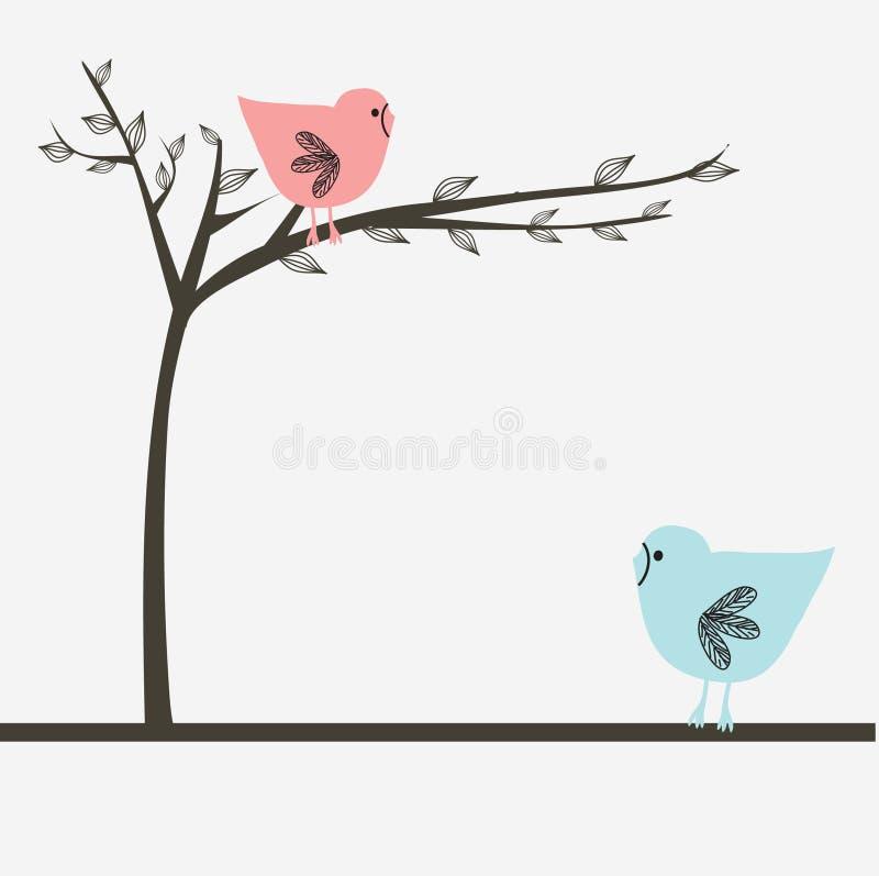 Twee vogels op de liefdedatum vector illustratie