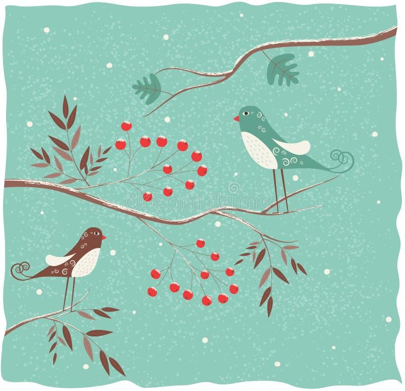 Twee vogels op de tak. stock illustratie