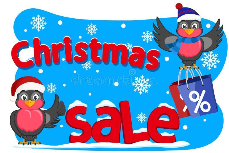 Twee vogelsgoudvinken toont als en holding het winkelen zakken De verkoop van Kerstmis royalty-vrije illustratie