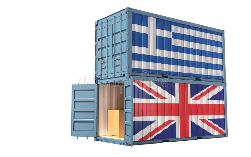 Twee vrachtcontainers met de vlag van Groot-Brittannië en Griekenland stock illustratie