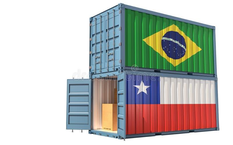 Twee vrachtcontainers met vlag Chili en Brazilië Geïsoleerd op wit royalty-vrije illustratie