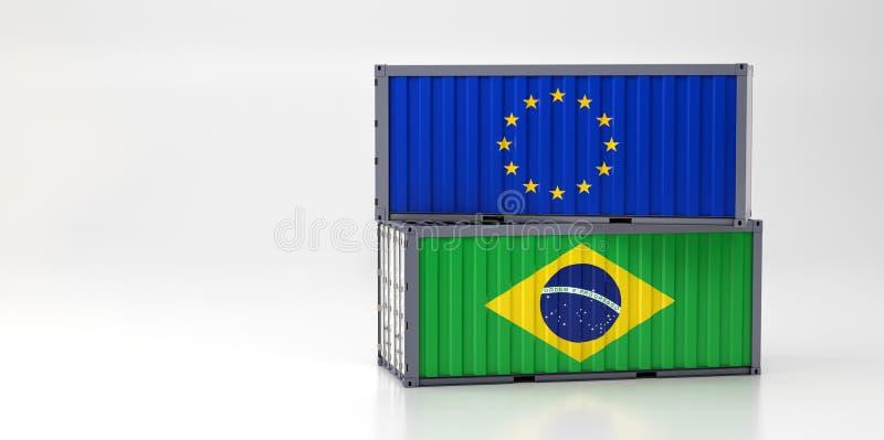 Twee vrachtcontainers met vlag van de Europese Unie en Brazilië vector illustratie