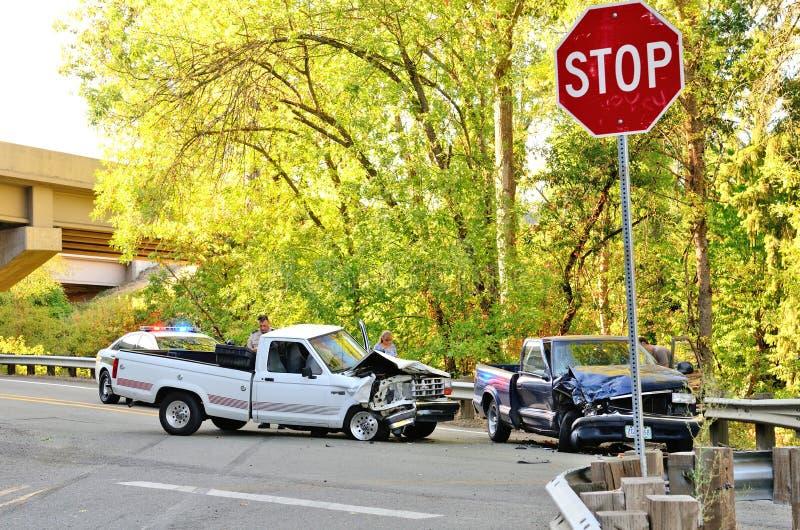 Twee Vrachtwagenwrak stock fotografie