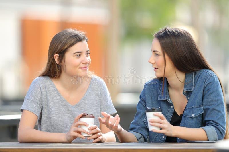 Twee vrienden die in een park het drinken koffie spreken royalty-vrije stock foto's