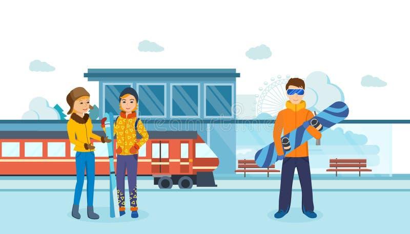Twee vrienden en mens met skis bij de post van de spoorwegwinter vector illustratie