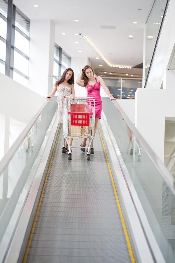 Twee vrienden met aankopen op de roltrap royalty-vrije stock afbeelding