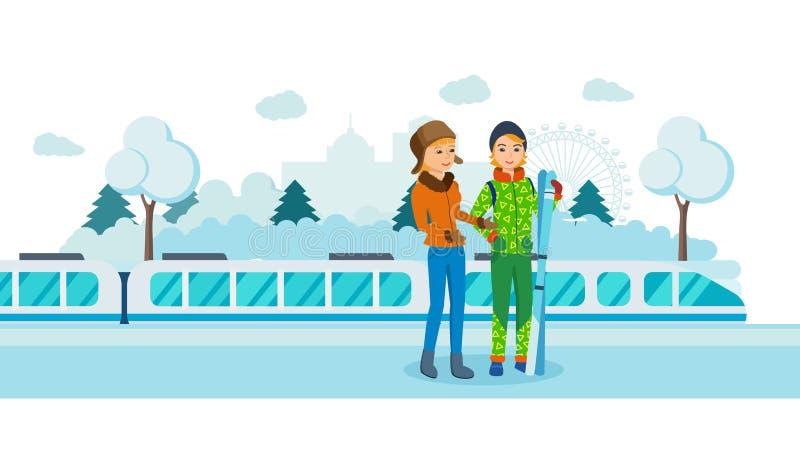 Twee vrienden met skis bij de post van de spoorwegwinter royalty-vrije illustratie