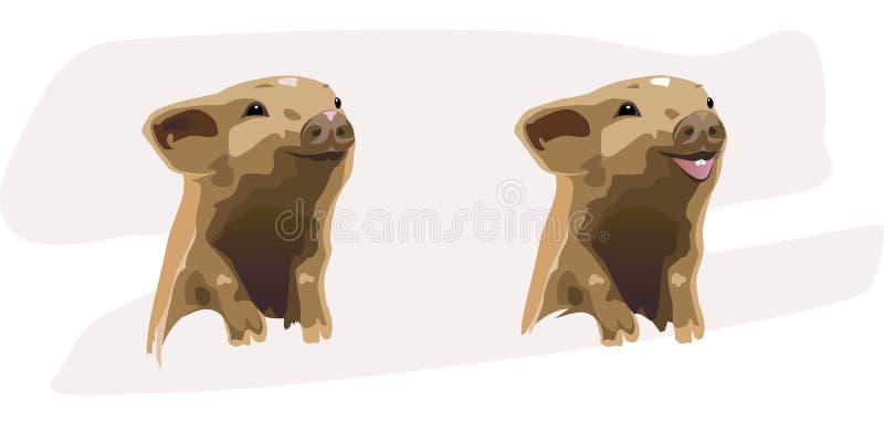 Twee vrolijke biggetjes vector illustratie