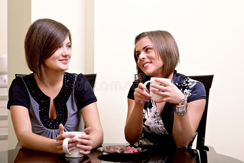 Twee vrolijke meisjes. royalty-vrije stock foto