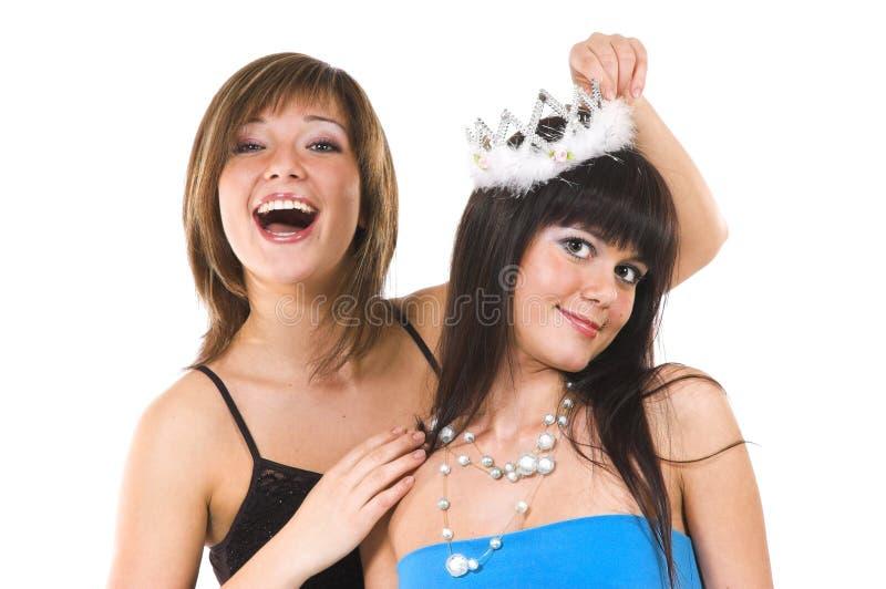 Twee vrolijke meisjes stock foto