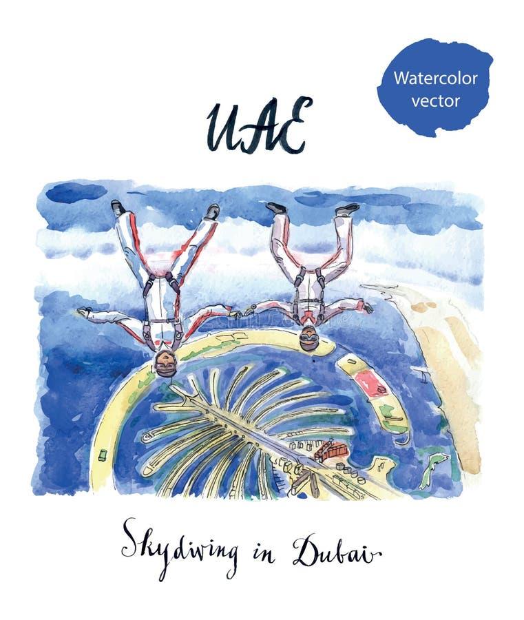 Twee vrouw-skydiversvlieg in Doubai boven eilandpalm Jumeirah, de V.A.E stock illustratie