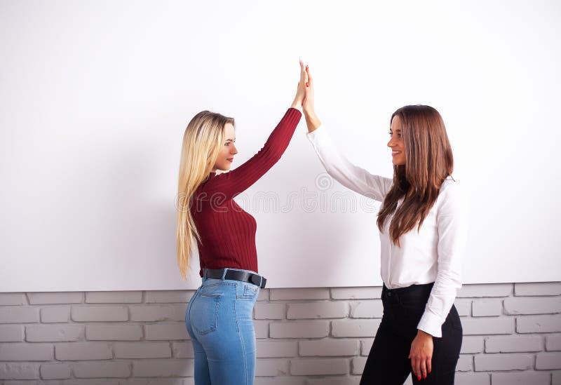 Twee vrouwelijke collega's in bureau die samenwerken Twee vrouwelijke collega's in bureau die samenwerken stock afbeeldingen