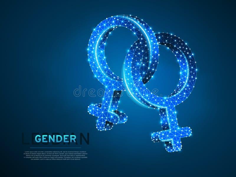 Twee Vrouwelijke Lesbische digitale 3d van Wireframe van geslachtssymbolen Het lage poly Abstracte Vector veelhoekige neon LGBT v vector illustratie