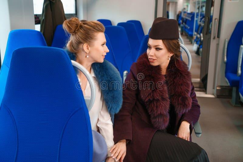 Twee vrouwelijke vrienden in de trein stock foto