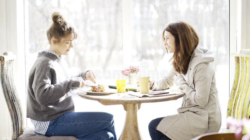Twee vrouwelijke vrienden die in een koffie samenkomen stock foto's