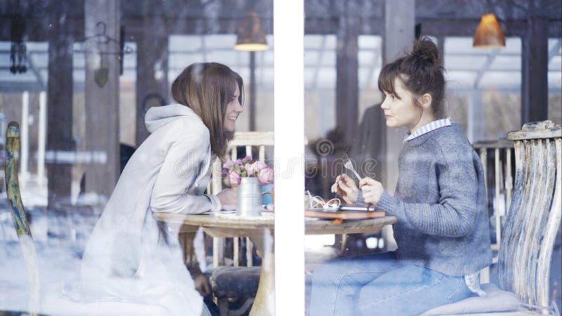 Twee vrouwelijke vrienden die in een koffie samenkomen om te spreken stock fotografie