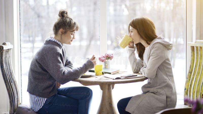 Twee vrouwelijke vrienden die in een te eten koffie samenkomen royalty-vrije stock afbeeldingen