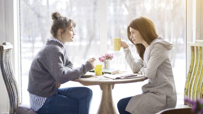 Twee vrouwelijke vrienden die een vergadering in een koffie hebben royalty-vrije stock foto's