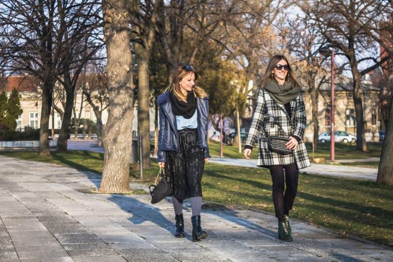 Twee vrouwelijke vrienden die gang in het park hebben stock afbeelding