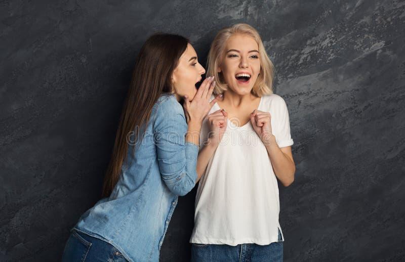 Twee vrouwelijke vrienden die pret hebben bij studioachtergrond royalty-vrije stock foto