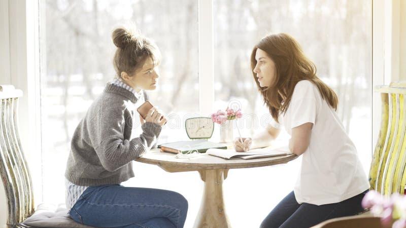Twee vrouwelijke vriendenstudenten die een ernstige bespreking hebben royalty-vrije stock afbeelding