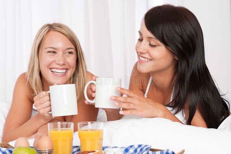 Twee vrouwen die naar huis gemaakt ontbijt in wit bed hebben royalty-vrije stock foto