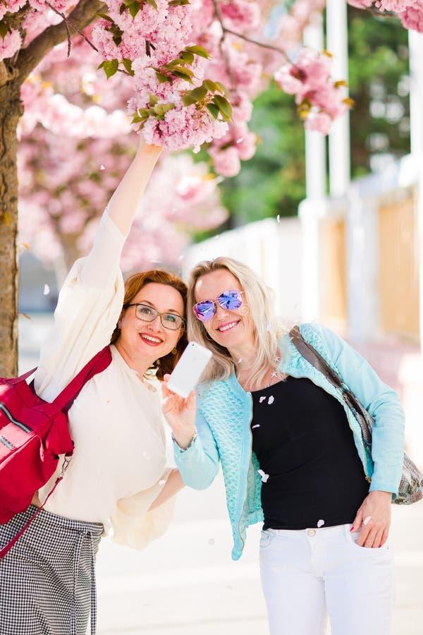 Twee vrouwen die onder kers stellen komen tot bloei stock afbeelding
