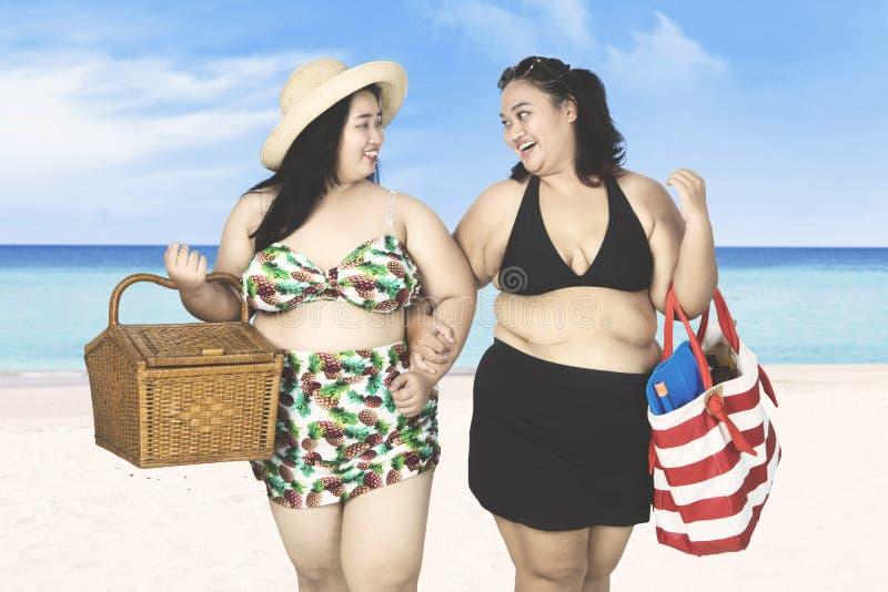 Twee vrouwen die op zandstrand lopen stock fotografie