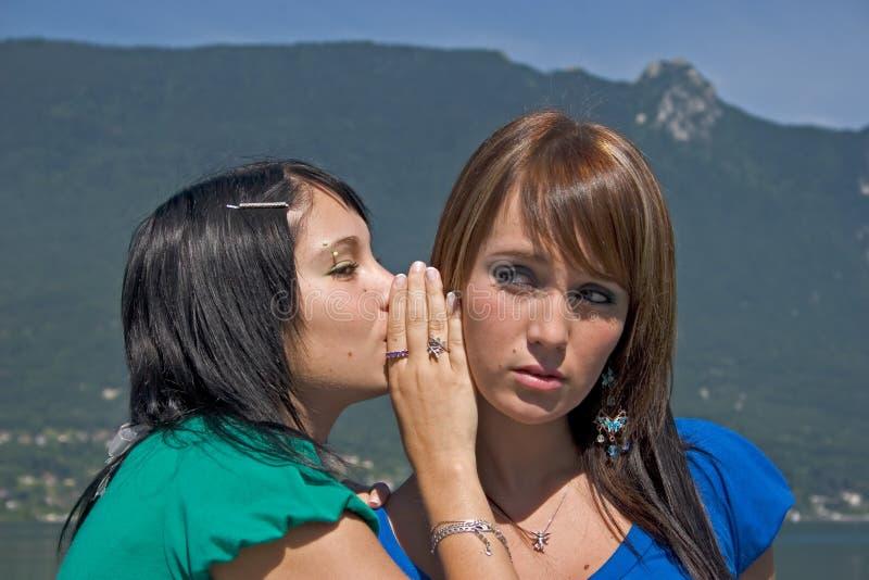 Twee vrouwen het bespreken stock afbeelding
