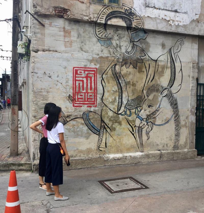 Twee vrouwen het letten op Het traditionele muurschildering schilderen op de muur Lhong 1919 royalty-vrije stock afbeeldingen