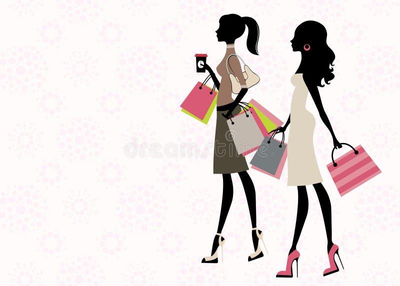 Twee vrouwen het winkelen stock illustratie