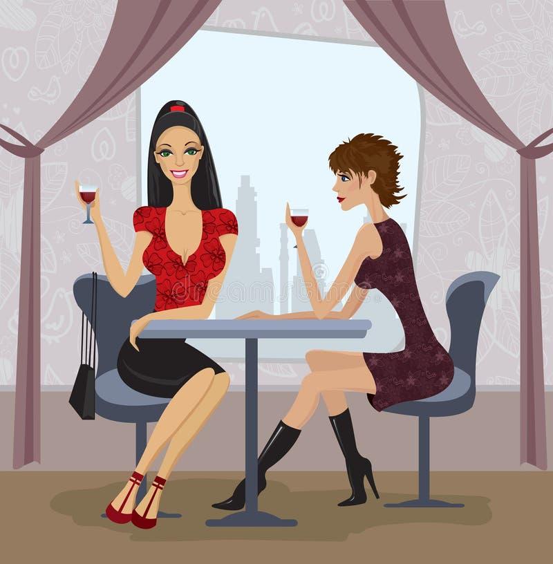 Twee vrouwen in restaurant stock illustratie