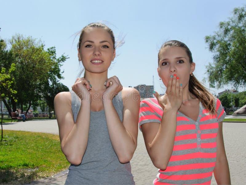 Twee vrouwen tonen extreme verrassing stock afbeelding