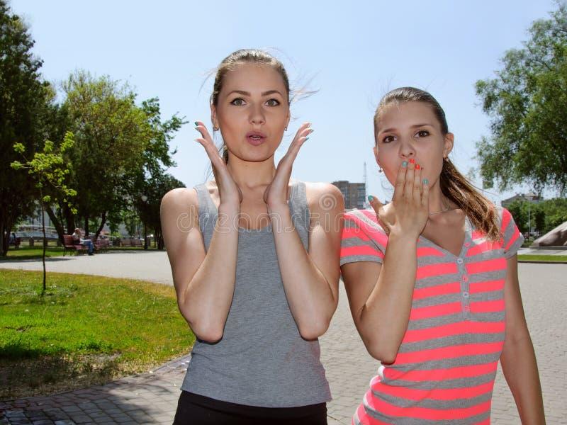 Twee vrouwen tonen grote verrassing royalty-vrije stock afbeelding