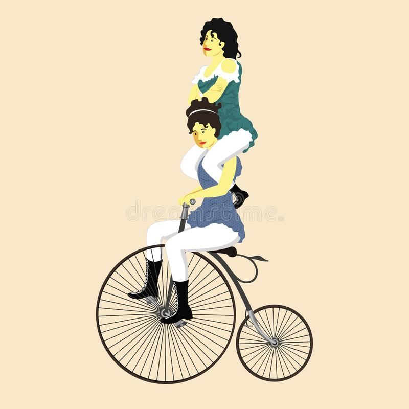 Twee vrouwen van circusuitvoerders op een retro fiets in uitstekende kostuumvector royalty-vrije illustratie