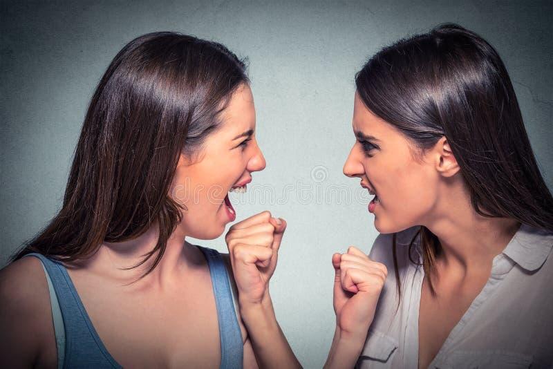 Twee vrouwen vechten Boze meisjes die elkaar bekijken het gillen royalty-vrije stock fotografie