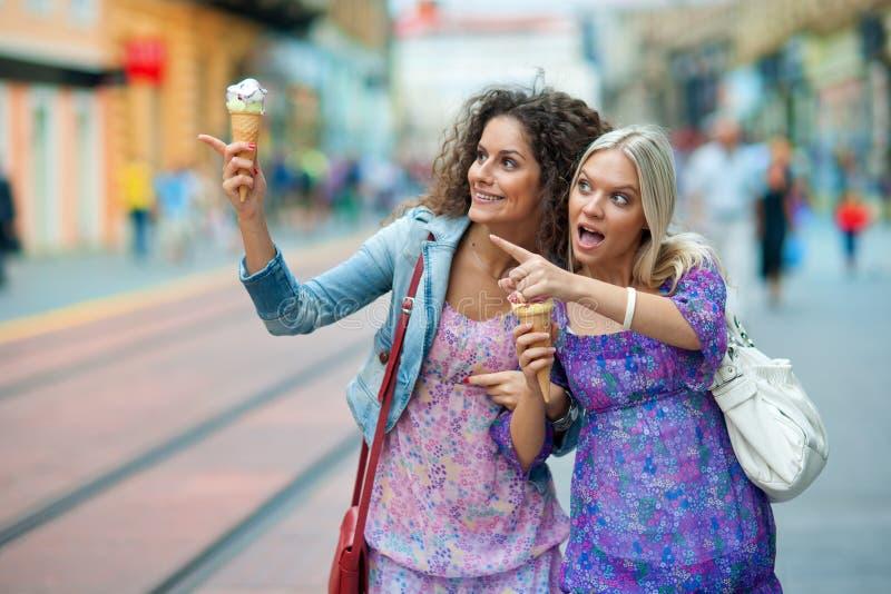 Twee vrouwenvrienden stock foto