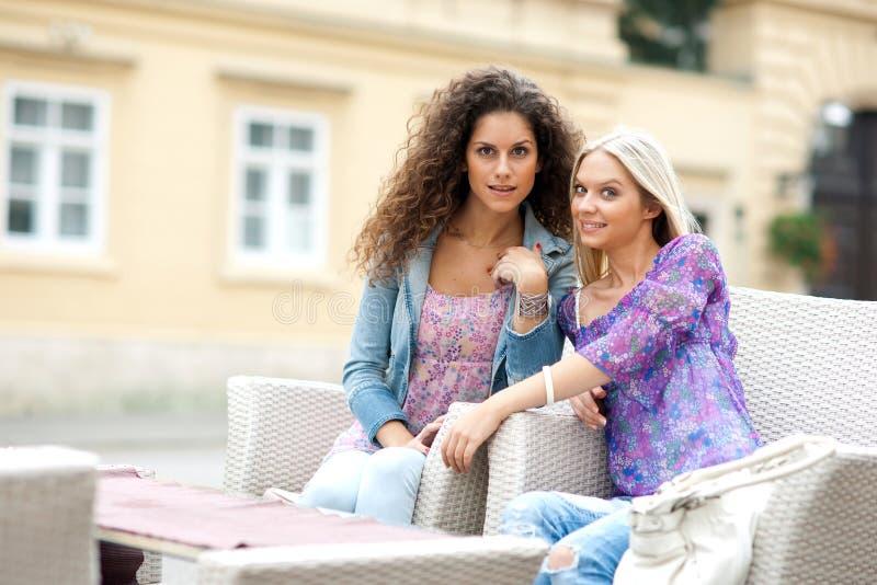 Twee vrouwenvrienden stock afbeelding