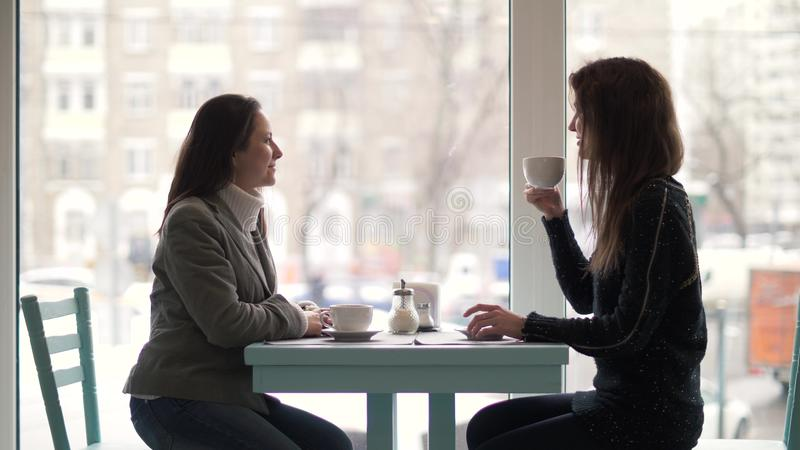 Twee vrouwenvrienden die bij lijst en het drinken koffie van kop in cafetaria zitten stock afbeelding